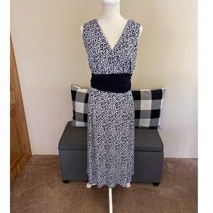 Dressbarn Navy Blue and White Dress Size 20W